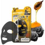 Elizavecca Black Charcoal Honey Deep Power Ringer Mask Тканевая маска д/лица с древ.углем и мед